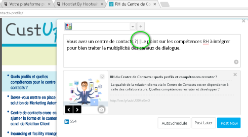 publication groupe LinkedIn via Hootsuite / Hootlet grâce à ||